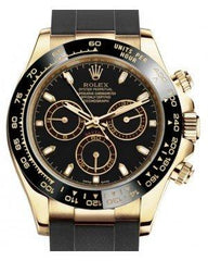 Rolex Daytona Yellow Gold Black Index Dial Ceramic Bezel Oysterflex Rubber Bracelet 116518LN - Fresh