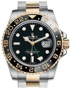 Rolex GMT Master II Yellow Gold/Steel Black Dial Ceramic Bezel Oyster Bracelet 116713LN Fresh