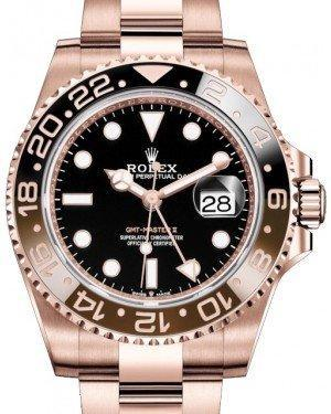 Rolex GMT Master II Rose Gold Black Dial Brown/Black Ceramic Bezel Oyster Bracelet 126715CHNR Fresh