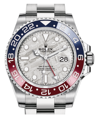 Rolex GMT Master II White Gold Meteorite Luminous Dial Red/Blue Ceramic Bezel Oyster Bracelet 126719BLRO Fresh