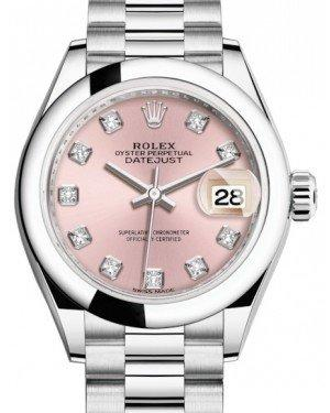 Rolex Lady Datejust 28 Platinum Pink Diamond Dial & Smooth Domed Bezel President Bracelet 279166 - Fresh