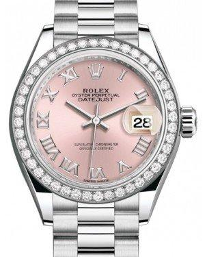 Rolex Lady Datejust 28 Platinum Pink Roman Dial & Smooth Domed Bezel President Bracelet 279136RBR - Fresh