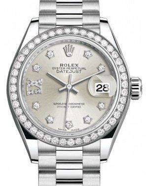 Rolex Lady Datejust 28 Platinum Silver Diamond IX Dial & Smooth Domed Bezel President Bracelet 279136RBR - Fresh
