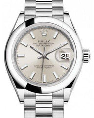 Rolex Lady Datejust 28 Platinum Silver Index Dial & Smooth Domed Bezel President Bracelet 279166 - Fresh