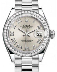 Rolex Lady Datejust 28 Platinum Silver Roman Dial & Smooth Domed Bezel President Bracelet 279136RBR - Fresh