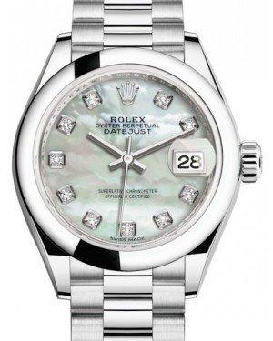 Rolex Lady Datejust 28 Platinum White Mother of Pearl Diamond Dial & Smooth Domed Bezel President Bracelet 279166 - Fresh