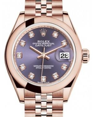 Rolex Lady Datejust 28 Rose Gold Aubergine Diamond Dial & Smooth Domed Bezel Jubilee Bracelet 279165 - Fresh