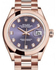 Rolex Lady Datejust 28 Rose Gold Aubergine Diamond Dial & Smooth Domed Bezel President Bracelet 279165 - Fresh