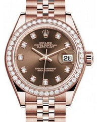 Rolex Lady Datejust 28 Rose Gold Chocolate Diamond Dial & Diamond Bezel Jubilee Bracelet 279135RBR - Fresh