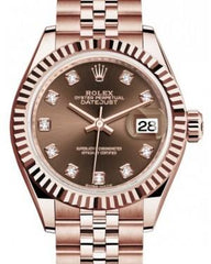 Rolex Lady Datejust 28 Rose Gold Chocolate Diamond Dial & Fluted Bezel Jubilee Bracelet 279175 - Fresh