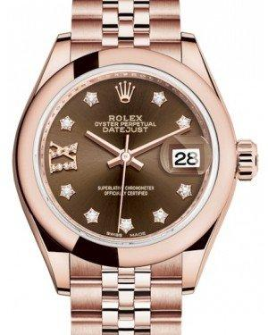 Rolex Lady Datejust 28 Rose Gold Chocolate Diamond IX Dial & Smooth Domed Bezel Jubilee Bracelet 279165 - Fresh