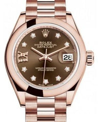 Rolex Lady Datejust 28 Rose Gold Chocolate Diamond IX Dial & Smooth Domed Bezel President Bracelet 279165 - Fresh