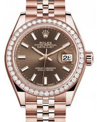 Rolex Lady Datejust 28 Rose Gold Chocolate Index Dial & Diamond Bezel Jubilee Bracelet 279135RBR - Fresh