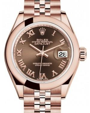 Rolex Lady Datejust 28 Rose Gold Chocolate Roman Dial & Smooth Domed Bezel Jubilee Bracelet 279165 - Fresh