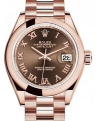 Rolex Lady Datejust 28 Rose Gold Chocolate Roman Dial & Smooth Domed Bezel President Bracelet 279165 - Fresh