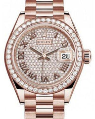 Rolex Lady Datejust 28 Rose Gold Diamond Paved Roman Dial & Diamond Bezel President Bracelet 279135RBR - Fresh