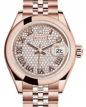 Rolex Lady Datejust 28 Rose Gold Diamond Paved Roman Dial & Smooth Domed Bezel Jubilee Bracelet 279165 - Fresh