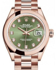 Rolex Lady Datejust 28 Rose Gold Olive Green Diamond Dial & Smooth Domed Bezel President Bracelet 279165 - Fresh