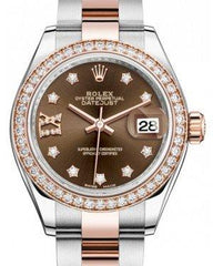 Rolex Lady Datejust 28 Rose Gold/Steel Chocolate Diamond IX Dial & Diamond Bezel Oyster Bracelet 279381RBR - Fresh