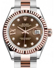 Rolex Lady Datejust 28 Rose Gold/Steel Chocolate Diamond IX Dial & Fluted Bezel Oyster Bracelet 279171 - Fresh