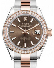 Rolex Lady Datejust 28 Rose Gold/Steel Chocolate Index Dial & Diamond Bezel Oyster Bracelet 279381RBR - Fresh