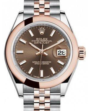 Rolex Lady Datejust 28 Rose Gold/Steel Chocolate Index Dial & Smooth Domed Bezel Jubilee Bracelet 279161 - Fresh