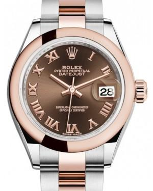 Rolex Lady Datejust 28 Rose Gold/Steel Chocolate Roman Dial & Smooth Domed Bezel Oyster Bracelet 279161 - Fresh
