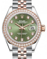 Rolex Lady Datejust 28 Rose Gold/Steel Olive Green Diamond Dial & Diamond Bezel Jubilee Bracelet 279381RBR - Fresh