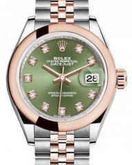 Rolex Lady Datejust 28 Rose Gold/Steel Olive Green Diamond Dial & Smooth Domed Bezel Jubilee Bracelet 279161 - Fresh