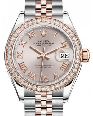 Rolex Lady Datejust 28 Rose Gold/Steel Sundust Roman Dial & Diamond Bezel Jubilee Bracelet 279381RBR - Fresh