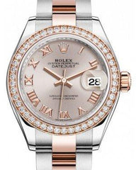 Rolex Lady Datejust 28 Rose Gold/Steel Sundust Roman Dial & Diamond Bezel Oyster Bracelet 279381RBR - Fresh