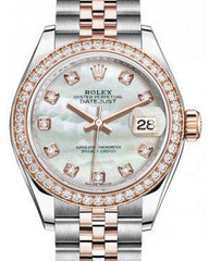 Rolex Lady Datejust 28 Rose Gold/Steel White Mother of Pearl Diamond Dial & Diamond Bezel Jubilee Bracelet 279381RBR - Fresh