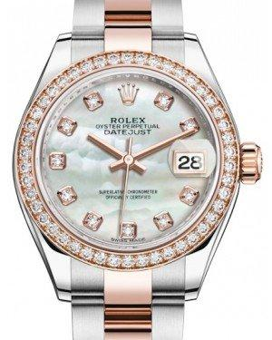 Rolex Lady Datejust 28 Rose Gold/Steel White Mother of Pearl Diamond Dial & Diamond Bezel Oyster Bracelet 279381RBR - Fresh
