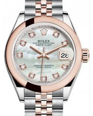 Rolex Lady Datejust 28 Rose Gold/Steel White Mother of Pearl Diamond Dial & Smooth Domed Bezel Jubilee Bracelet 279161 - Fresh