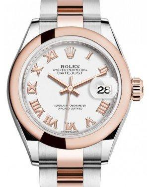 Rolex Lady Datejust 28 Rose Gold/Steel White Roman Dial & Smooth Domed Bezel Oyster Bracelet 279161 - Fresh