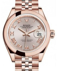 Rolex Lady Datejust 28 Rose Gold Sundust Roman Dial & Smooth Domed Bezel Jubilee Bracelet 279165 - Fresh
