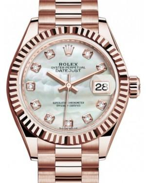 Rolex Lady Datejust 28 Rose Gold White Mother of Pearl Diamond Dial & Fluted Bezel President Bracelet 279175 - Fresh