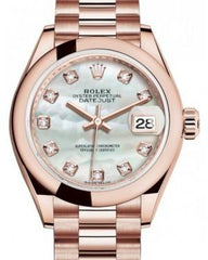 Rolex Lady Datejust 28 Rose Gold White Mother of Pearl Diamond Dial & Smooth Domed Bezel President Bracelet 279165 - Fresh