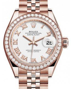 Rolex Lady Datejust 28 Rose Gold White Roman Dial & Diamond Bezel Jubilee Bracelet 279135RBR - Fresh