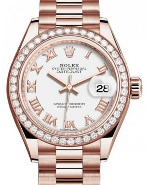 Rolex Lady Datejust 28 Rose Gold White Roman Dial & Diamond Bezel President Bracelet 279135RBR - Fresh