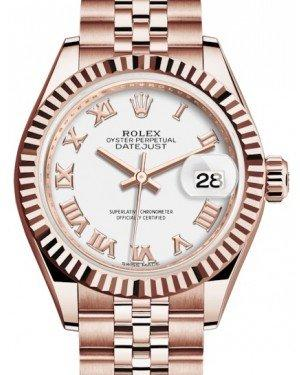 Rolex Lady Datejust 28 Rose Gold White Roman Dial & Fluted Bezel Jubilee Bracelet 279175 - Fresh