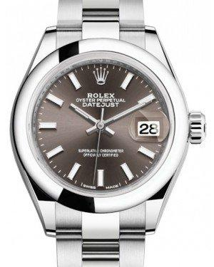 Rolex Lady Datejust 28 Stainless Steel Dark Grey Index Dial & Smooth Domed Bezel Oyster Bracelet 279160 - Fresh