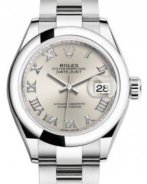 Rolex Lady Datejust 28 Stainless Steel Silver Roman Dial & Smooth Domed Bezel Oyster Bracelet 279160 - Fresh