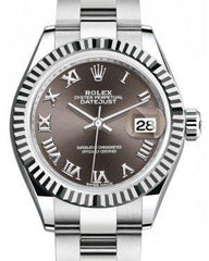 Rolex Lady Datejust 28 White Gold/Steel Dark Grey Roman Dial & Fluted Bezel Oyster Bracelet 279174 - Fresh