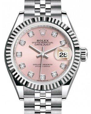 Rolex Lady Datejust 28 White Gold/Steel Pink Diamond Dial & Fluted Bezel Jubilee Bracelet 279174 - Fresh