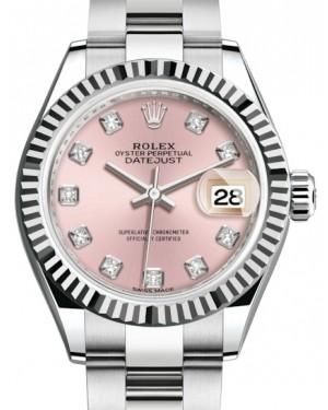 Rolex Lady Datejust 28 White Gold/Steel Pink Diamond Dial & Fluted Bezel Oyster Bracelet 279174 - Fresh