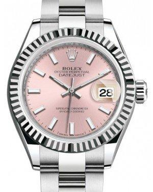 Rolex Lady Datejust 28 White Gold/Steel Pink Index Dial & Fluted Bezel Oyster Bracelet 279174 - Fresh