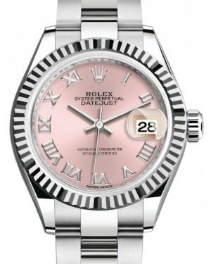 Rolex Lady Datejust 28 White Gold/Steel Pink Roman Dial & Fluted Bezel Oyster Bracelet 279174 - Fresh
