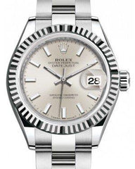 Rolex Lady Datejust 28 White Gold/Steel Silver Index Dial & Fluted Bezel Oyster Bracelet 279174 - Fresh