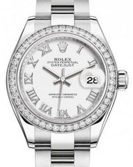 Rolex Lady Datejust 28 White Gold/Steel White Roman Dial & Diamond Bezel Oyster Bracelet 279384RBR - Fresh